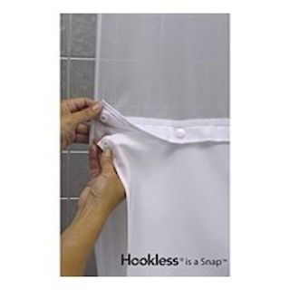 "Focus HBH40SL0157 It's A Snap! White Shower Curtain Liner - 71"" x 57"" - Arcs And Angles - HBH40SL0157"