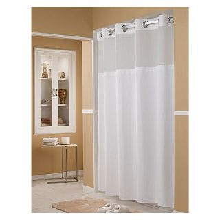 Focus HBH52D401X White Waffle Fabric Shower Curtain - Arcs And Angles - HBH52D4